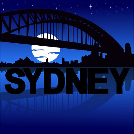 sydney skyline: Sydney skyline reflected with text and moon vector illustration Illustration