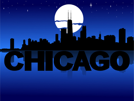 chicago skyline: Chicago skyline reflected with text and moon vector illustration Illustration