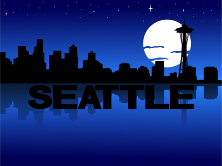 Seattle skyline reflected with text and moon vector illustration