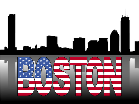 Boston skyline reflected with American flag text  illustration