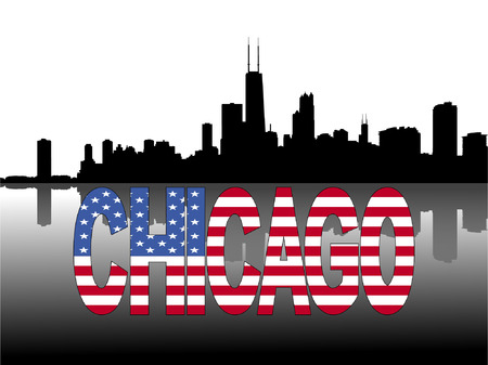 chicago skyline: Chicago skyline reflected with American flag text  illustration Illustration