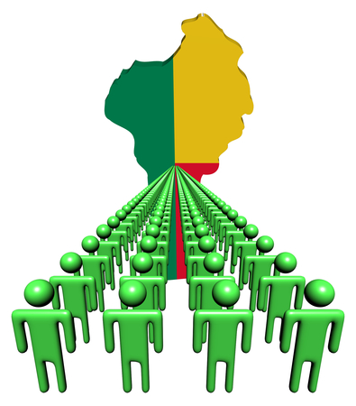 multitude: Lines of people with Benin map flag illustration Stock Photo