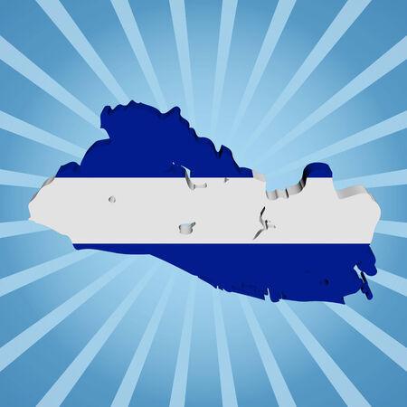 mapa de el salvador: El Salvador Bandera de mapa en la ilustraci�n azul del resplandor solar