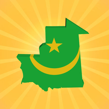 mauritania: Mauritania map flag on sunburst illustration