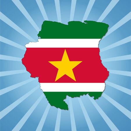 suriname: Suriname map flag on blue sunburst illustration