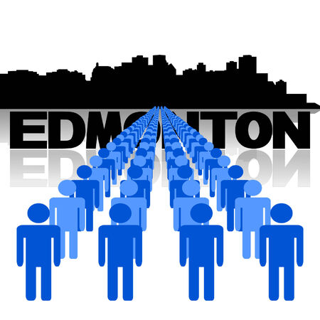 edmonton: Lines of people with Edmonton skyline Illustration