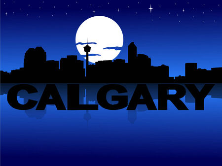 Calgary skyline reflected with text and moon Vector