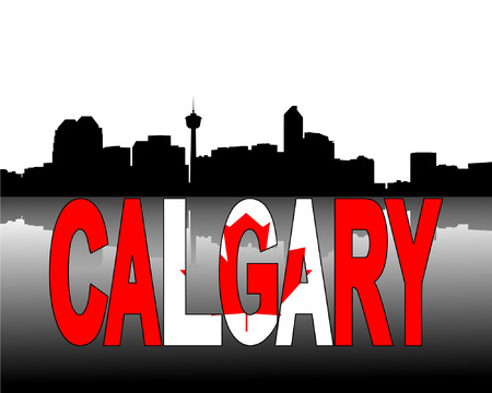 calgary: Calgary skyline reflected with Canadian flag text vector illustration