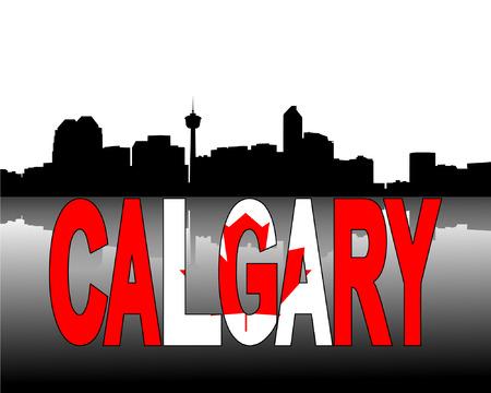 calgary: Calgary skyline reflected with Canadian flag text vector illustration