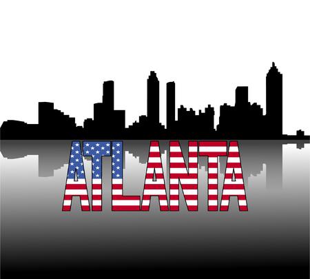 atlanta: Atlanta skyline reflected with American flag text vector illustration