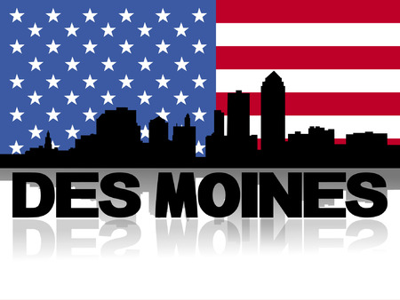 reflected: Des Moines skyline and text reflected with American flag vector illustration