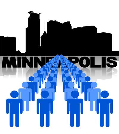 multitude: L�neas de las personas con la ilustraci�n del vector del horizonte de Minneapolis Vectores