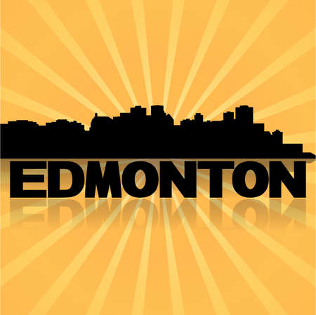 edmonton: Edmonton skyline reflected with sunburst vector illustration  Illustration