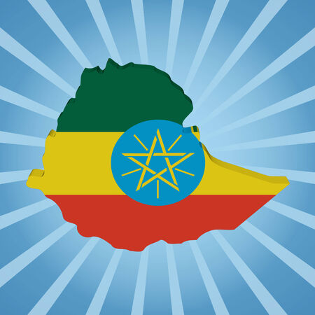 ethiopia abstract: Ethiopia map flag on blue sunburst illustration