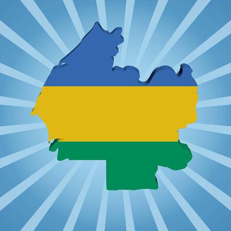 gabon:  Gabon map flag on blue sunburst illustration Stock Photo