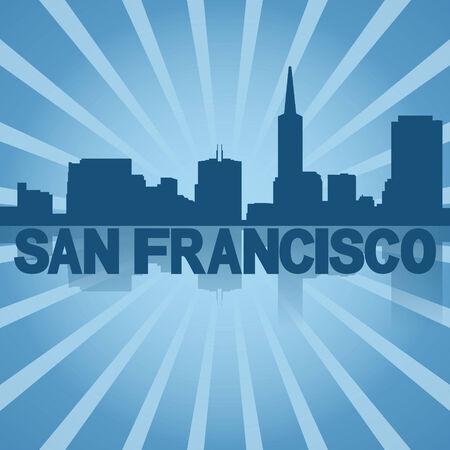 san rays: San Francisco skyline reflected with blue sunburst illustration Stock Photo