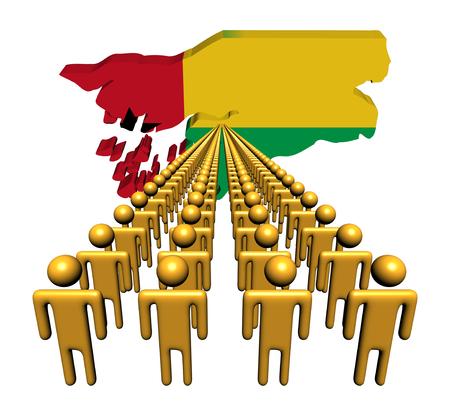 guinea bissau: Lines of people with Guinea Bissau map flag illustration