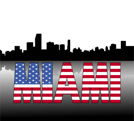 Miami skyline reflected with American flag text vector illustration Vector
