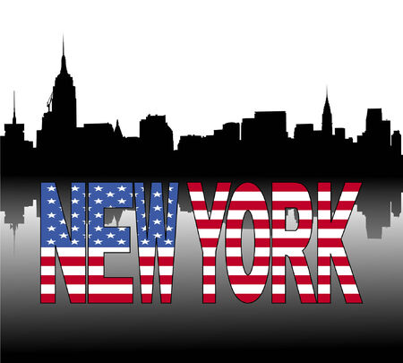 new york skyline: New York skyline reflected with American flag text vector illustration