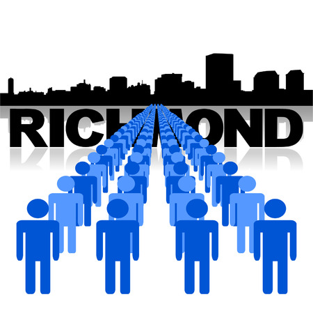 Lines of people with Richmond skyline vector illustration