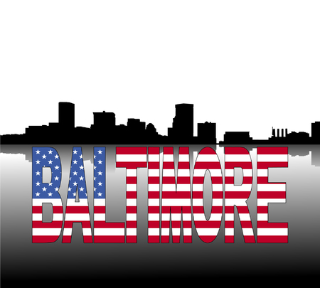baltimore: Baltimore skyline reflected with American flag text vector illustration