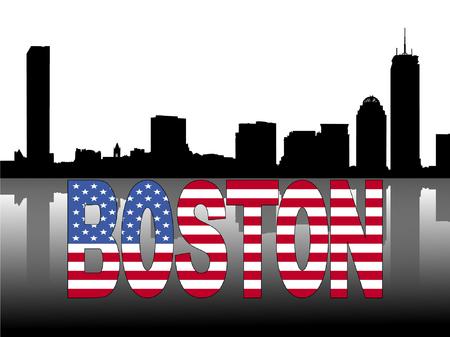 boston skyline: Boston skyline reflected with American flag text vector illustration Illustration