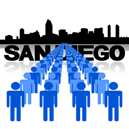 san diego: Lines of people with San Diego skyline vector illustration Illustration