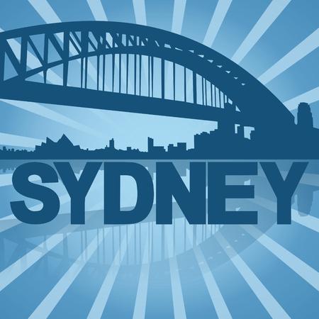 sydney skyline: Sydney skyline reflected with blue sunburst illustration Stock Photo