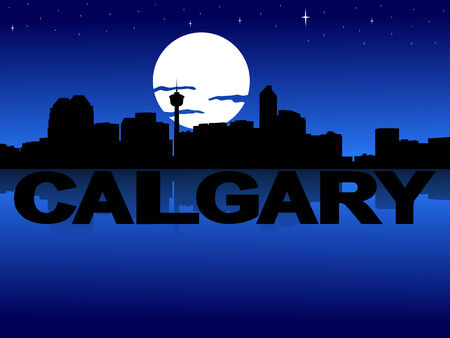 Calgary skyline reflected with text and moon illustration Stock Photo