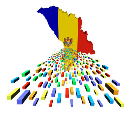 moldova: Moldova map flag with containers illustration