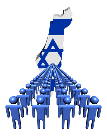 israel people: Lines of people with Israel map flag illustration
