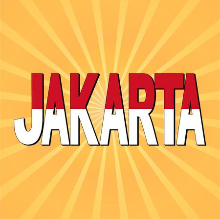 jakarta: Jakarta flag text with sunburst vector illustration