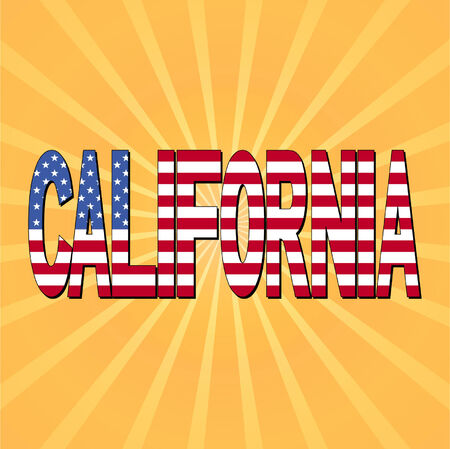 california flag: California flag text with sunburst vector illustration