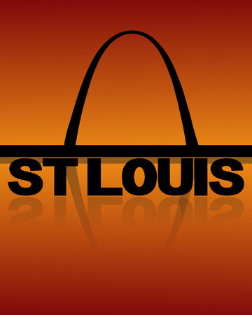 arch: St Louis skyline reflected with text and sunset vector illustration Illustration