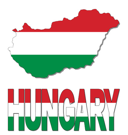 realm: Hungary map flag and text vector illustration
