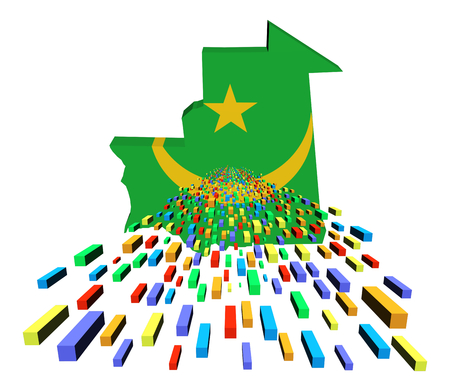 Mauritania map flag with containers illustration illustration