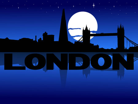 london night: London skyline reflected with text and moon illustration