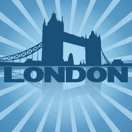 london tower bridge: Tower Bridge London reflected with blue sunburst illustration