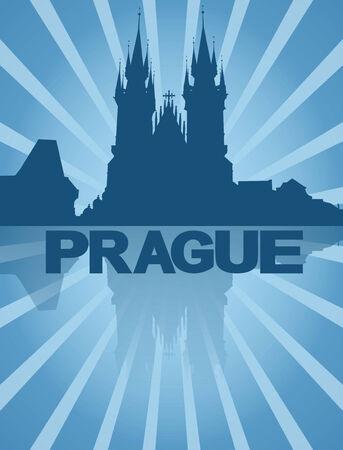 Prague skyline reflected with blue sunburst illustration illustration