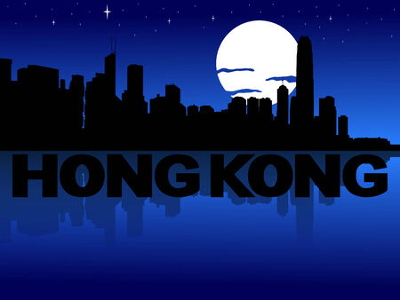 hong kong night: Hong Kong skyline reflected with text and moon illustration