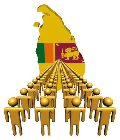 Lines of people with Sri Lanka map flag illustration illustration