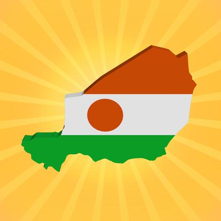 niger: Niger map flag on sunburst illustration