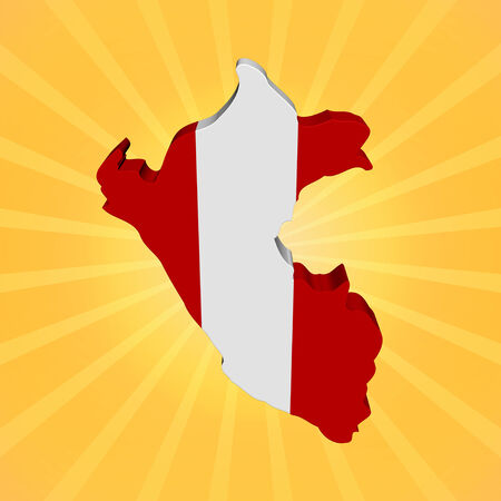 peru map: Peru map flag on sunburst illustration