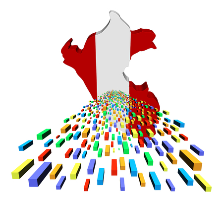 peru map: Peru map flag with containers illustration