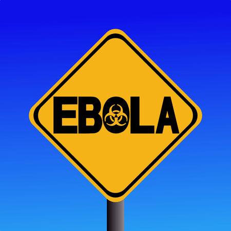 contagious: Danger Ebola biohazard sign on blue illustration Stock Photo