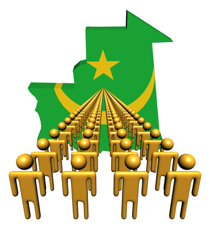 multitude: Lines of people with Mauritania map flag illustration