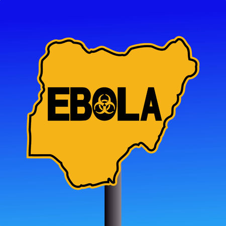 contagious: Danger Ebola biohazard Nigeria map sign on blue illustration