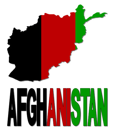 Afghanistan map flag and text vector illustration Vector