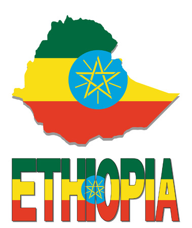 Ethiopia map flag and text vector illustration