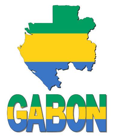 gabon: Gabon map flag and text vector illustration